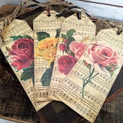 Vintage Style Bookmarks Victorian Garden Roses Flowers Sheet Music Set of - Vintage Music Sheet Sets