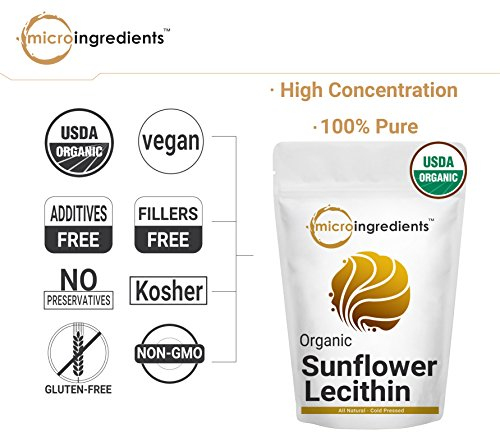 US Grown Organic Sunflower Lecithin Powder, Sustainable Farmed, Cold-Pressed, Soy-Free, Best Superfoods for Smoothie and Drinks, Non-GMO & Vegan Friendly by Micro Ingredients (Image #4)
