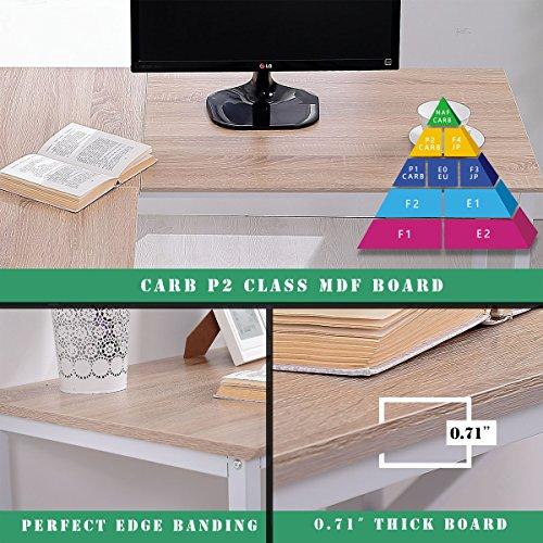 TOPSKY L-Shaped Desk Corner Computer Desk 55'' x 55'' with 24'' Deep Workstation Bevel Edge Design (Walnut+Black Leg) by TOPSKY (Image #5)