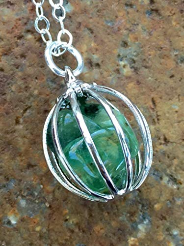 (Emerald Necklace, Genuine Emerald Cage Pendant, May Birthstone, Raw Emerald Nuggets, Natural Precious Gemstones, Sterling)