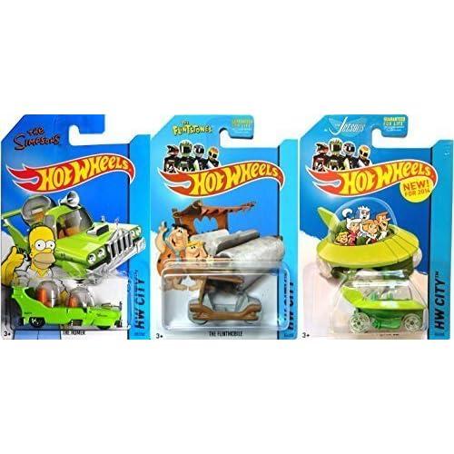 Hot Wheels Tooned Flintstone, Jetsons & Homer Simpson Cars by Mattel