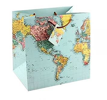 World Map Gift Bags.Gift Bag World Map 23 Cm Amazon Co Uk Office Products