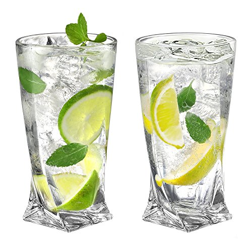 Ecooe 11oz/330ml (Full capacity) Crystal Highball Glasses for Cocktail, Juice, Beer and More, Drinking Glassware Set of 2