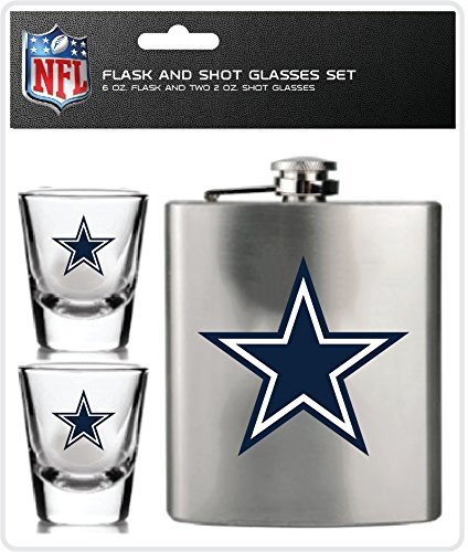 (NFL Dallas Cowboys Shot Glasses & Brushed Stainless Steel Flask)