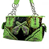 Green Concealed Handgun Camouflage Camo Western Rhinestone Cross Gun Fashion Handbag Purse, Bags Central