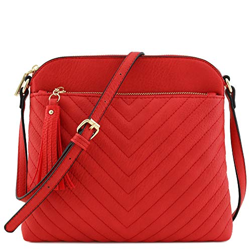 Chevron Quilted Medium Crossbody Bag with Tassel Accent (Tomato Red)]()