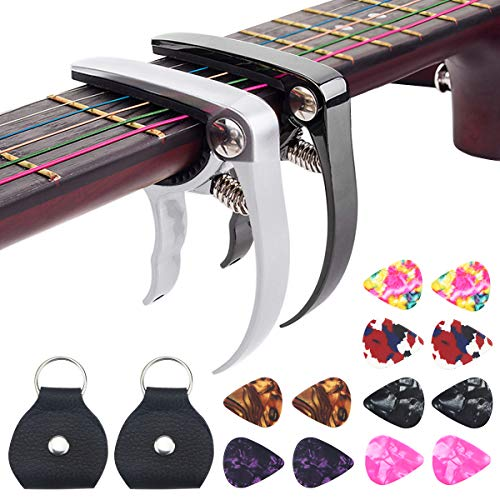 DoerDo Guitar Capos 2 PACK - Black and Silver Metal Capo with 12 Guitar Picks + 2 Guitar Picks Holder for Acoustic and Electric Guitar Ukulele Mandolin or Bass