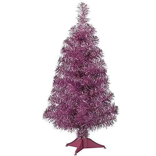 Artificial Christmas Tree. Fake 2 Foot Xmas Tabletop Fashion Colors- Pink Beautifully Shaped. Looks Neat & Festively. It Doesn't Take Up Much Space And Is Easy To Store. For Indoor Use Only. (Optic 2ft Tree Fibre Christmas)