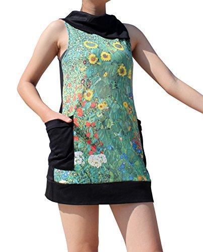RaanPahMuang Gustav Klimt Sunflower Field Collar Fold Dress, Small