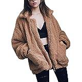 CHOiES record your inspired fashion Women's Khaki Lapel Long Sleeve Faux Shearling Coat Winter Warm Cardigan L