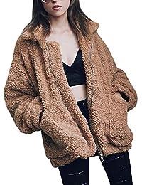Choies Women's Lapel Long Sleeve Faux Shearling Coat Winter Boyfriend Winter Faux Coat Brown/Khaki/Black