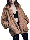 CHOiES record your inspired fashion Women's Khaki Lapel Long Sleeve Faux Shearling Coat Winter Warm Cardigan S