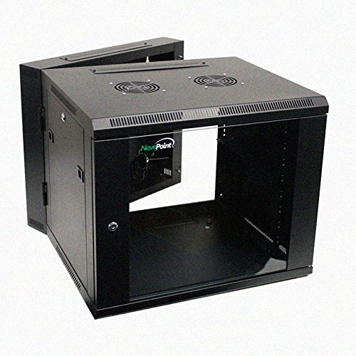 NavePoint 9U Wall Mount Double Section Hinged Swing Out Server Network Rack Cabinet Lock