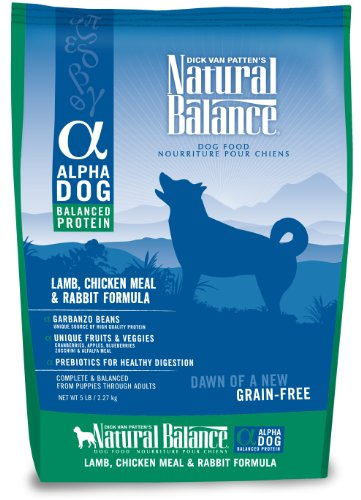 Natural Balance Alpha Grain-Free Lamb, Chicken Meal, and Rabbit Formula for Dogs, 5-Pound Bag, My Pet Supplies