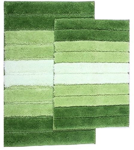 naturally home Eclipse 2-Piece Ombre Striped Bathroom Rug Set: Large 20