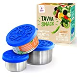 Snack Containers Set - 3 Stainless Steel Food Storage Containers with Food-grade Silicone Lids - Portion Control Feature - Leak-proof and Reusable - Also Suitable for Baby Food and Spice Storage