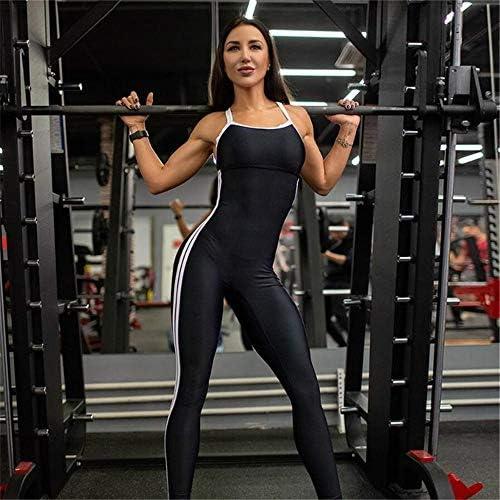 レディースジャージ上下セット スリムスポーツスリム美バックヨガジャンプスーツ女性無地ワンピースパンツ (色 : ブラック, サイズ : M)