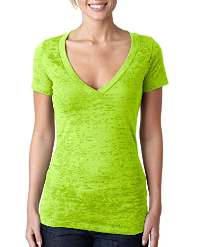 Ladies Burnout Deep V-Neck Tee (Neon Green) (2X-Large)