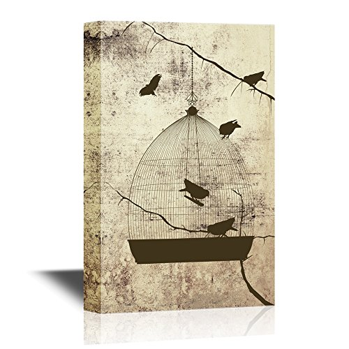 Birds and Bird Cage on Abstract Vintage Background