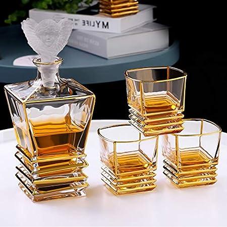 GAOXIAOMEI Juego De Jarra De Whisky con Jarra De 800 Ml, Vasos De Whisky De 260 Ml Y Elegante Caja De Regalo, Juego De Jarra De Whisky para Licor, Whisky Escocés, Vodka, Regalo para Hombres O Mujeres