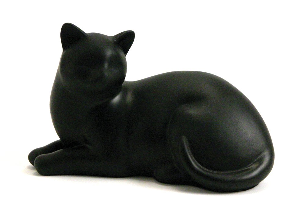 Near & Dear Pet Memorials Cozy Cat Resin Cremation Urn 25 Cubic Inch Black