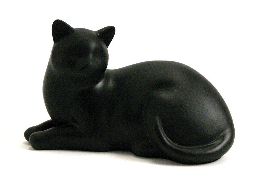 Near & Dear Pet Memorials Cozy Cat Resin Cremation Urn, 25 Cubic Inch, Black
