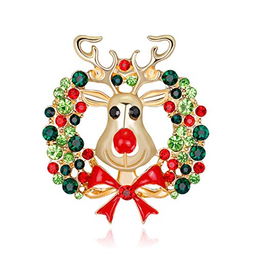 Christmas Wreath Reindeer Brooch Pins Crystal Rhinestone Enamel Lapel Pin for Women Girls Xmas Holiday Festive Gift