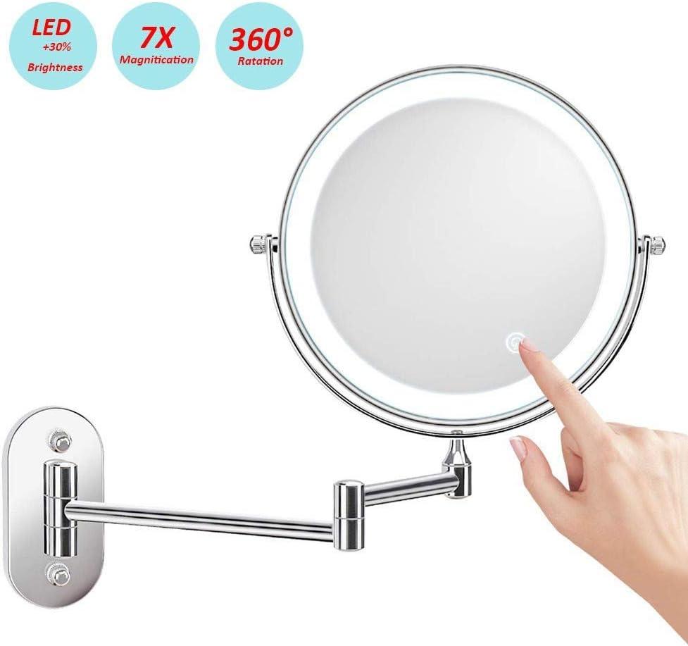 Miroir Grossissant Lumineux Mural x10 Miroir Salle De Bain 8 Pouces Double Face LED 360 Degr/és Rotation Pliable 4 Piles AAA Requises Non Fournies