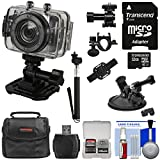 Vivitar DVR785HD Waterproof Action Video Camera Camcorder (Black) with Helmet/Bike/Car Mounts + 32GB Card + Case + Selfie Stick Kit