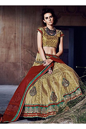 PCC Indian Women Designer Wedding golden Lehenga Choli K-4774-42209