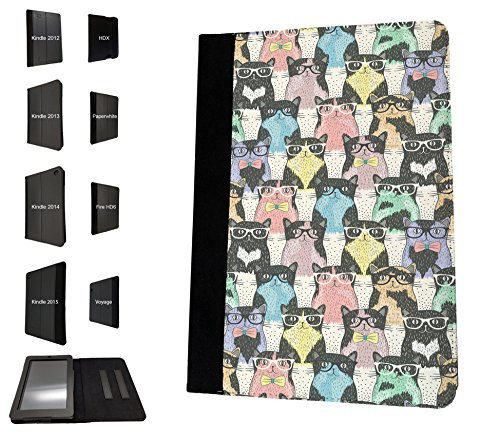 924 - Collage Multi Cats Sunglasses Design Amazon Kindle Paperwhite 6'' 2014/2015 Fashion Trend TPU Leather Flip Case Protective Purse Pouch Book Style Defender Stand - 2014 Trends Sunglass