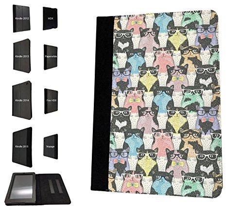 924 - Collage Multi Cats Sunglasses Design Amazon Kindle Paperwhite 6'' 2014/2015 Fashion Trend TPU Leather Flip Case Protective Purse Pouch Book Style Defender Stand - Trends Sunglasses 2014