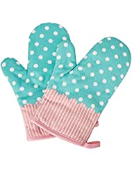 Qiaoker Oven Mitts Gloves 2 Pcs Microwave Oven Cotton Pot Mitts, Kitchen Heat Resistant Cook Mitts Soft Inner Lining Cooking, Barbecue Potholder, Twill Texture Gloves BBQ, Baking – Blue/Polka Dot