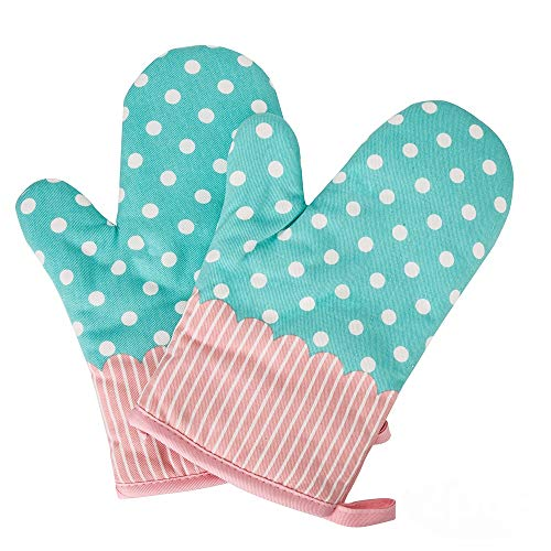 Qiaoker Oven Mitts Gloves 2 Pcs Microwave Oven Cotton Pot Mitts, Kitchen Heat Resistant Cook Mitts Soft Inner Lining Cooking, Barbecue Potholder, Twill Texture Gloves BBQ, Baking – Blue/Polka ()