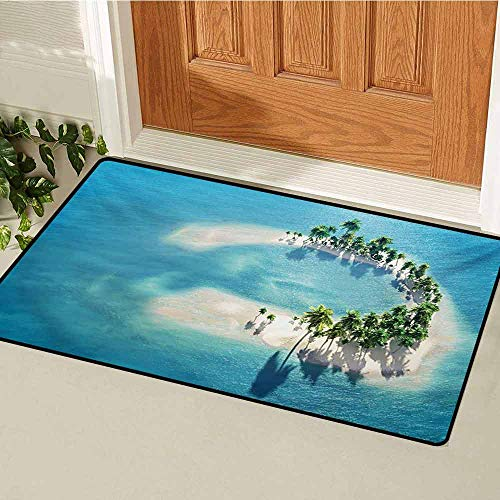 (Island Front Door mat Carpet Picture of Atoll Ring Shaped Island Covered with Palm Trees in Middle of Ocean Machine Washable Door mat W19.7 x L31.5 Inch Blue Ivory Green)