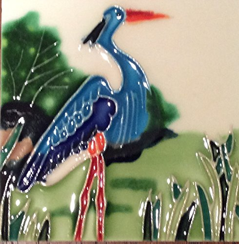 Blue Heron Decorative Tile Coaster and Wall Hanging
