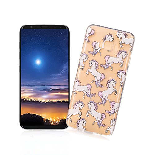 XiaoXiMi Funda Samsung Galaxy S8 PLUS Carcasa de Silicona Transparente con Patrón de Diseño Simple Soft Silicone Case Cover Funda Protectora Carcasa Blanda Claro Caso Flexible Suave Caja Delgado Liger Caballo Dragón Blanco