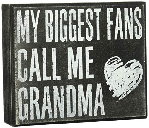 JennyGems - My Biggest Fans Call Me Grandma - Stand Up Wood Box Sign - Gifts for Grandma, Grandma Plaque, Grandma Gift, Mother's Day
