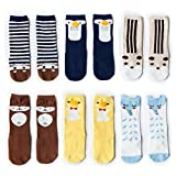 VWU 6 Pack Baby Girls Boys Knee High Socks Toddler Animal Socks 0-5Y