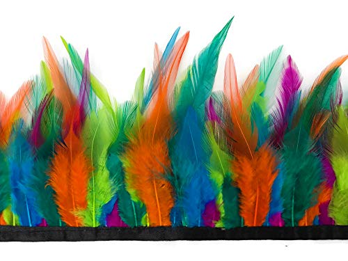 Feather Trim Wholesale (1 Yard - Multicolor Summmer Fun Rooster Neck Hackle Saddle Feather Wholesale Trim DIY Craft Wedding Dress | Moonlight)