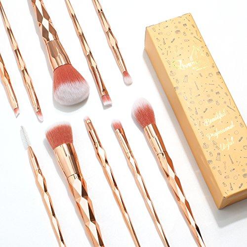 Qivange Makeup Brush Set, Fabulous Unicorn Foundation Eyeshadow Cosmetic Brushes(Rose Gold, 10pcs)