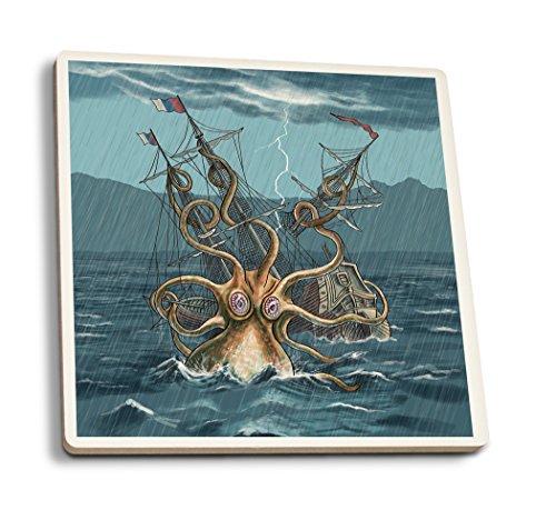 Attacking Set (Lantern Press Kraken Attacking Ship (Set of 4 Ceramic Coasters - Cork-Backed, Absorbent))
