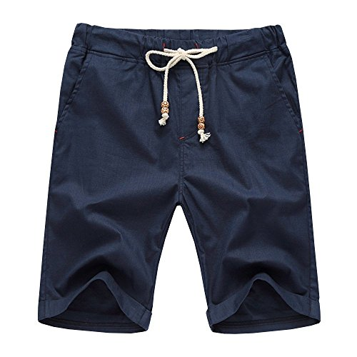 Aiyino Men's Linen Casual Classic Fit Short Summer Beach Shorts X-Large Navy ()