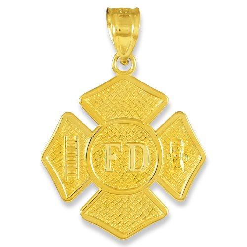 14k Gold St Florian Medal Firefighter Badge Pendant