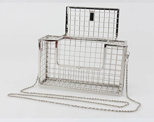 Hollow Women' Handbag Party Evening Clutch Purse Wedding Bag KELAND Silver Metal Cage gEdAAw