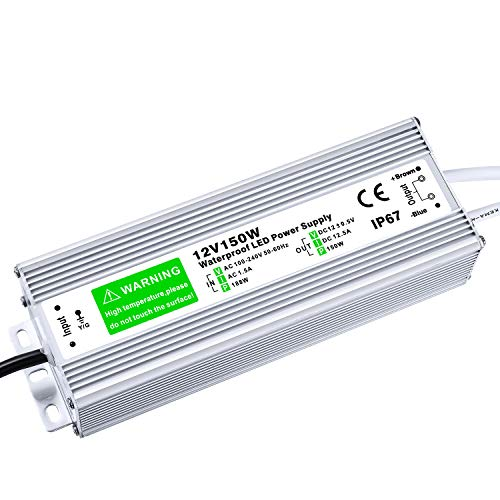 LED Driver 150W Durable Waterproof IP67 12V DC Transformer Compatible LED Lighting Module Low Voltage Power Supply Output Accessories