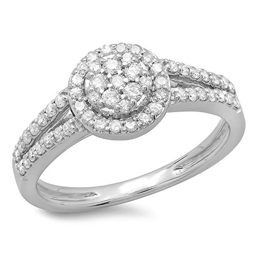 Cluster Engagement Ring Setting (0.55 Carat (ctw) 14K White Gold Round Cut Diamond Split Shank Cluster Engagement Ring 1/2 CT (Size 7))