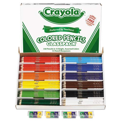 - Colored Woodcase Pencil Classpack, 3.3 mm, 12 Assorted Colors/Box, Sold as 1 Box