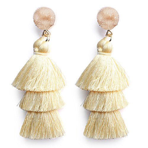 Ivory White Tassel Earrings Layered Dangle Drop Long Earring Bohemian Wedding Earrings for Brides Bridesmaids from Me&Hz