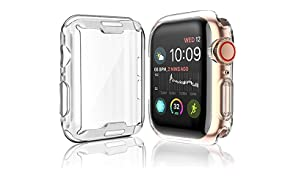 [2-Pack] Julk Case for Apple Watch Series 5 / Series 4 Screen Protector 44mm, 2019 New iWatch Overall Protective Case TPU HD Clear Ultra-Thin Cover for Series 5/4 (44mm)